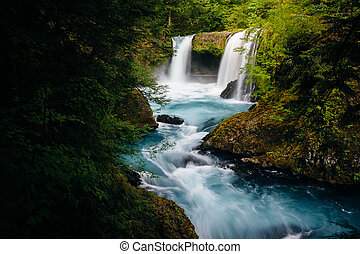 View of Spirit Falls on the Little White Salmon River in the Columbia River Gorge, Washington.