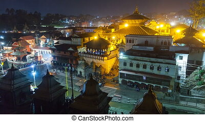 View of square in Pashupatinath Temple, one of the sacred temples of Hindu faith. Kathmandu, Nepal.