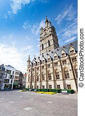 View of square with Het Belfort van Gent, Ghent