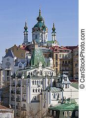 View of St Andrew's Church in Kiev, Ukraine