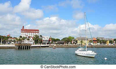 View of St. Augustine, Florida riverfront on the Matanzas River.