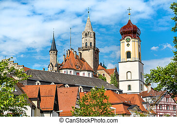 View of St. Johann Church and the Castle in Sigmaringen, Baden-Wurttemberg - Germany