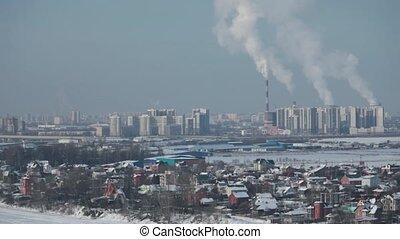 View of St. Petersburg in winter, aerial view