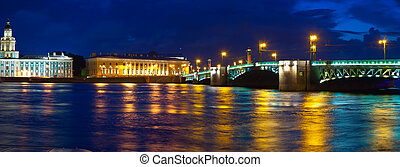 Vasilyevsky Island and Palace bridge in night - View of St. ...