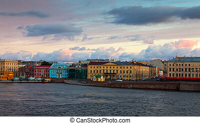 Vasilyevsky Island in morning - View of St. Petersburg. ...