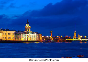 Vasilyevsky Island in night - View of St. Petersburg. ...