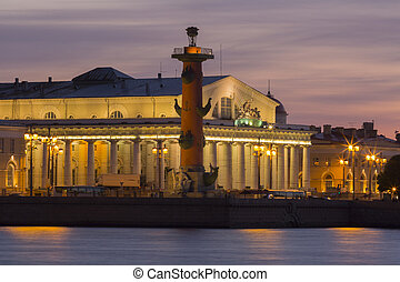 View of St. Petersburg. Vasilyevsky Island in sunset