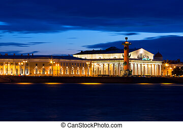 view of St. Petersburg. Vasilyevsky Island in White Night, Russia