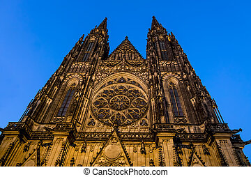 View of St. Vitus Cathedral in Prague Castle in Prague. - ...