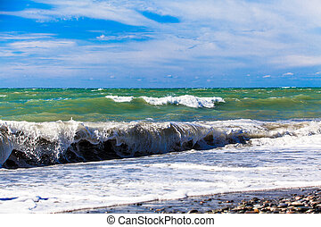 View of storm seascape. Sea background. Waves. waves crashing on shore