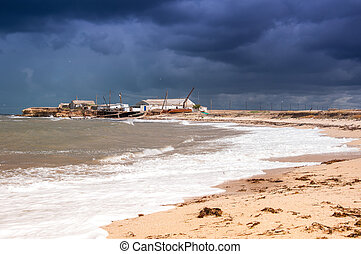 View of stormy seascape.