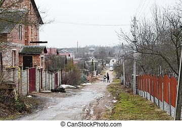 View of street in Vitebsk on a cloudy spring day