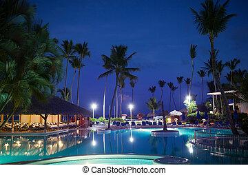 Tropical Resort At Night Beautiful Nighttime Scene Og A