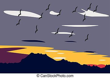 View of sunset and a flock of birds in the sky.