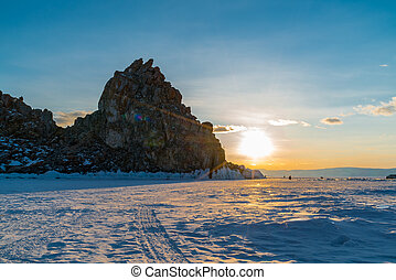 View of sunset at Sacred Shamankha on Olkhon Island in Lake Baikal