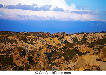 View of sunset Cappadocia valley
