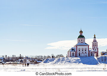 view of Suzdal with Church of Elijah in winter