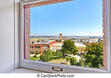View of Tacoma city through the window.