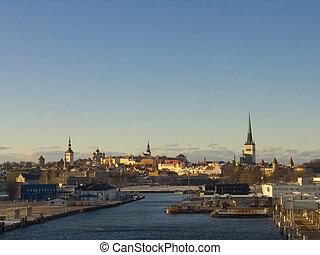 view of tallinn, estonia, from the sea