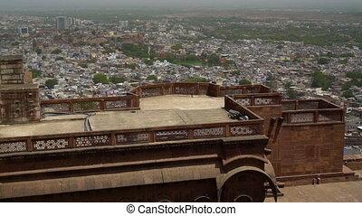 View of terrace or deck. - Mehrangarh or Mehran Fort,...