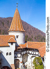 View of th inside part of Bran Castle, Romania, known for the story of Dracula