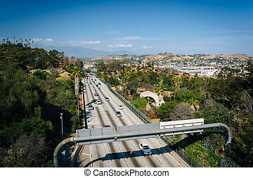 View of the 110 Freeway from the Park Row Drive Bridge, in Los A