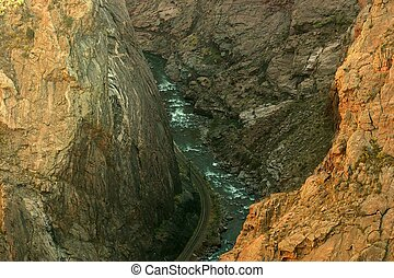 Royal Gorge - View of the 1100 ft. deep Royal Gorge with the...