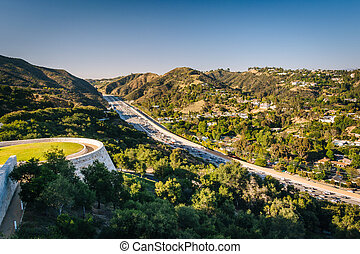 View of the 405 Freeway from the Getty Center, in Brentwood, Los Angeles, California.