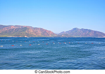 View of the Aegean Sea and the rocky mountains. Marmaris. Turkey