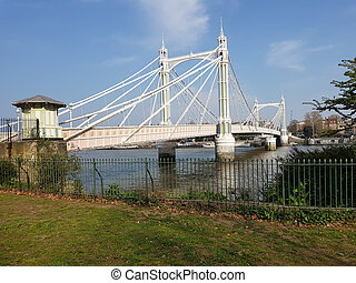 View of the Albert bridge, London, England. - View of the ...