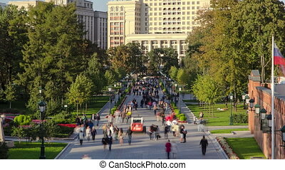 View of the Alexander's garden timelapse. Moscow Kremlin, Russia