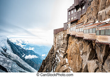 View of the Alps from Aiguille du Midi mountain. - View of...