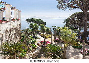 "View of the ""Amalfi Coast Overview"" from the gardens of ""Villa Rufolo"""