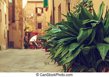 Street of Pienza - View of the ancient old european city. ...