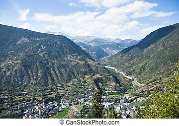 View of the Andorra la Vella, Andorra - Panoramic Aerial...
