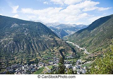 View of the Andorra la Vella, Andorra - Panoramic Aerial...