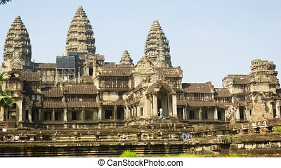 View of the Angkor Wat with tourist groups - Video 1080p -...