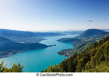 View of the Annecy lake from  Col du Forclaz