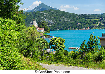 View of the Annecy lake in the french Alps