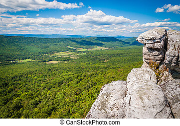 View of the Appalachian Mountains from cliffs on Big Schloss, in George Washington National Forest, Virginia.