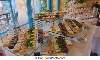 View of the Appetizing cakes for guests.