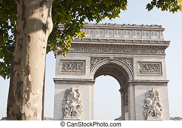view of the Arc de Triomphe in Paris, France.