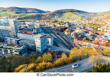 View of the Baden City in canton Aargau from the castle hill