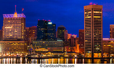 View of the Baltimore Inner Harbor and skyline during twilight from Federal Hill.