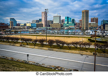 View of the Baltimore Inner Harbor and Skyline from Federal Hill