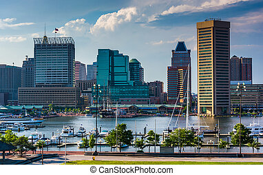 View of the Baltimore skyline and Inner Harbor from Federal Hill