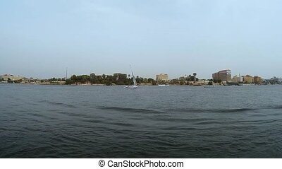 View of the banks of the Nile on the city Luxor