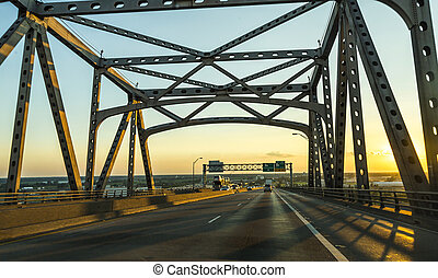view of the Baton Rouge bridge on Interstate Ten over the Miss