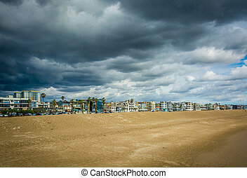 View of the beach and buildings in Venice Beach, Los Angeles, California.
