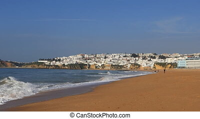 View of the beach at Albuferie, Portugal on a clear day